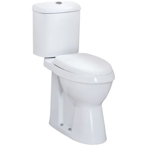 Milano Select - White Ceramic Modern High Rise Doc M Disabled WC Toilet with Cistern and Soft Close Seat