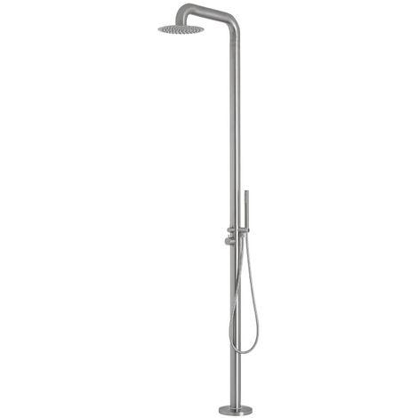Milano Sevilla - Modern Outdoor Shower with Hand Shower Handset - Brushed Steel