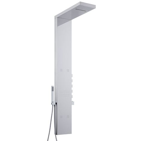 Milano Tahuata - Modern Thermostatic Outdoor Shower Tower Panel with Rainfall Shower Head, Body Jets, Hand Shower Handset and Waterblade Function - Chrome