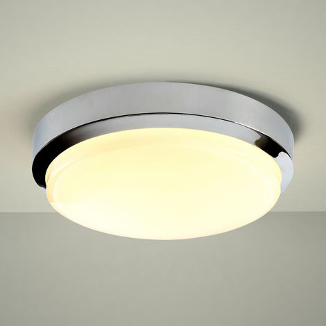 Milano Tama Ø280mm 18W LED Round Chrome Bathroom Ceiling Bulkhead Light - IP44 Waterproof - Warm White (3000K) with Frosted Opal Glass Diffuser