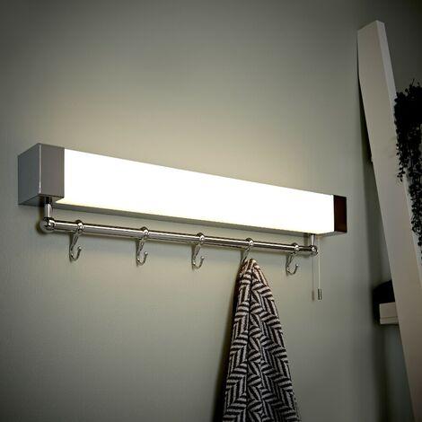 Milano Tanana - 12W LED IP44 Bathroom Shelf / Towel Rail Light with Hooks & Shaver Socket