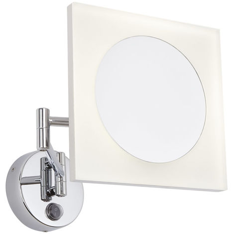 Milano Teifi - 3W LED Square Wall Mounted IP44 Bathroom Vanity Mirror - 3x Magnification & Extendable Folding Arm - Cool White