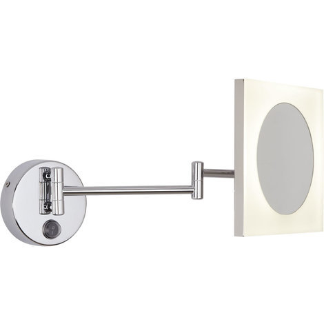 Milano Teifi Square 3W LED Wall Mounted IP44 Bathroom Vanity Mirror with 3x Magnification - Cool White (6500K)
