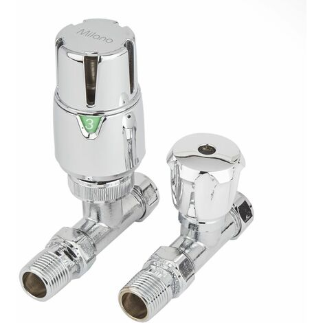 Milano Thermostatic Chrome Designer Radiator Heating Valve - Straight Pair 15mm