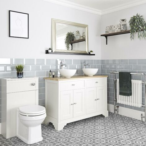 Milano Thornton - 1210mm Traditional Bathroom Vanity Unit with 2 Countertop Basins and WC Unit with Back to Wall Toilet Pan  Seat and Cistern