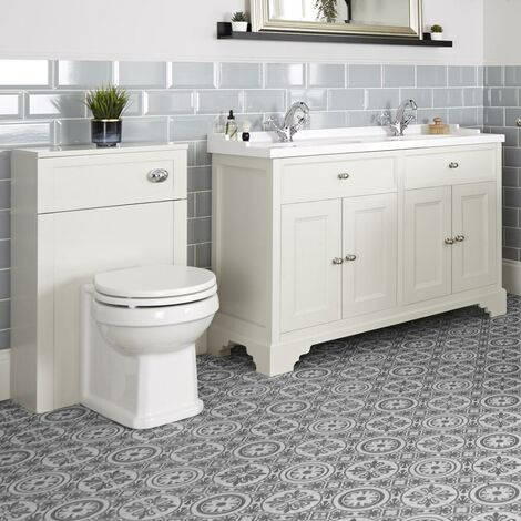 Milano Thornton - 1210mm Traditional Bathroom Vanity Unit with Double Basin and WC Unit with Back to Wall Toilet Pan  Seat and Cistern
