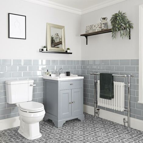 Milano Thornton - 630mm Traditional Bathroom Vanity Unit with Basin and Close Coupled Toilet WC Pan  Seat and Cistern
