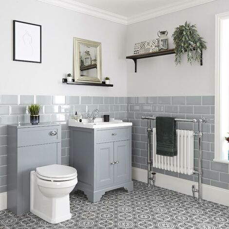 Milano Thornton - 630mm Traditional Bathroom Vanity Unit with Basin and WC Unit with Back to Wall Toilet Pan  Seat and Cistern