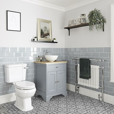 Milano Thornton - 645mm Traditional Bathroom Vanity Unit with Countertop Basin and Close Coupled Toilet WC Pan  Seat and Cistern