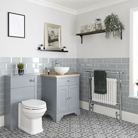 Milano Thornton - 645mm Traditional Bathroom Vanity Unit with Countertop Basin and WC Unit with Back to Wall Toilet Pan  Seat and Cistern