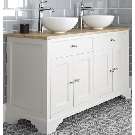 Milano Thornton - Antique White and Oak 1210mm Traditional Bathroom Vanity Unit with 2 Round Countertop Basins