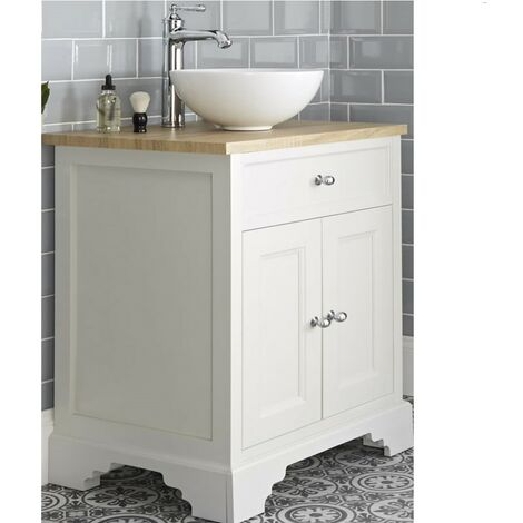 Milano Thornton - Antique White and Oak 645mm Traditional Bathroom Vanity Unit with Round Countertop Basin