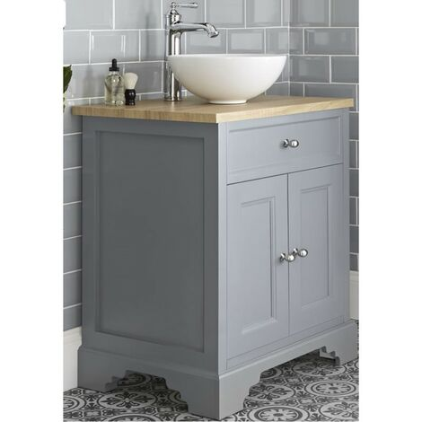 Milano Thornton - Light Grey and Oak 645mm Traditional Bathroom Vanity Unit with Round Countertop Basin