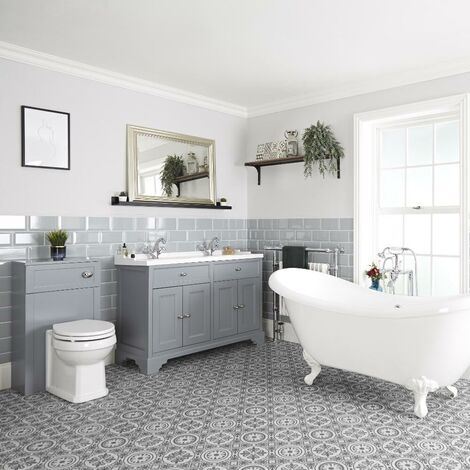 Milano Thornton - Traditional Bathroom Suite with Freestanding Double Ended Slipper Bath and Feet  1210mm Vanity Unit and Back to Wall Toilet WC Unit
