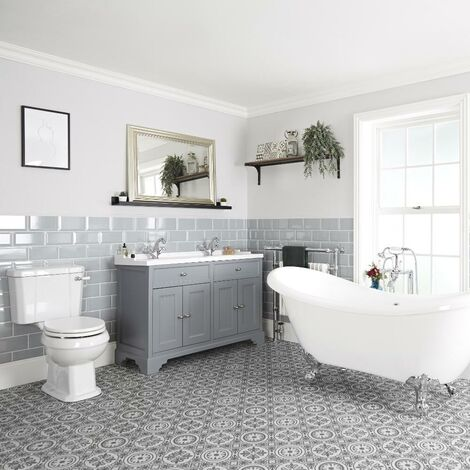 Milano Thornton - Traditional Bathroom Suite with Freestanding Double Ended Slipper Bath and Feet  1210mm Vanity Unit and Close Coupled Toilet WC