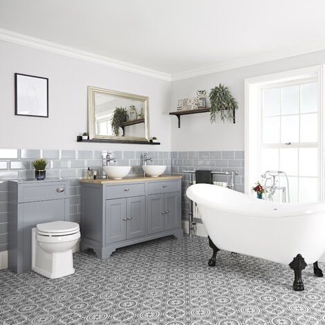 Milano Thornton - Traditional Bathroom Suite with Freestanding Double Ended Slipper Bath and Feet  1210mm Vanity Unit with Countertop Basin and Back to Wall Toilet WC Unit
