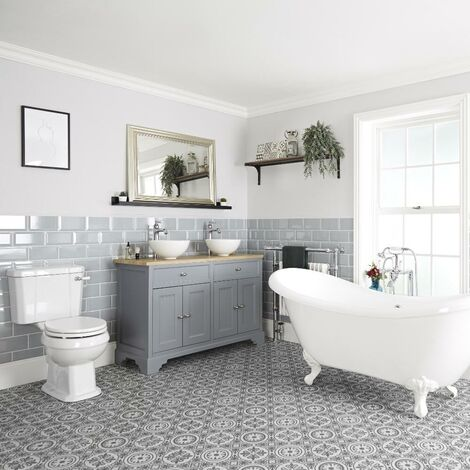 Milano Thornton - Traditional Bathroom Suite with Freestanding Double Ended Slipper Bath and Feet 1210mm Vanity Unit with Countertop Basins and Close Coupled Toilet WC