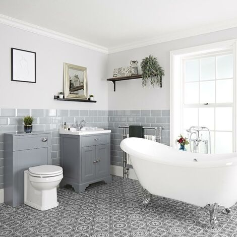 Milano Thornton - Traditional Bathroom Suite with Freestanding Double Ended Slipper Bath and Feet  630mm Vanity Unit and Back to Wall Toilet WC Unit