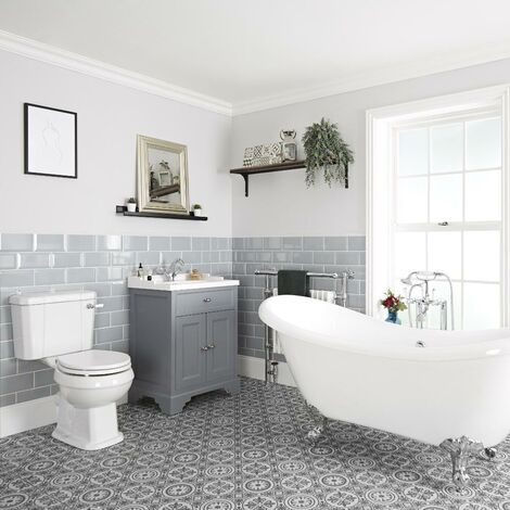 Milano Thornton - Traditional Bathroom Suite with Freestanding Double Ended Slipper Bath and Feet  630mm Vanity Unit and Close Coupled Toilet WC