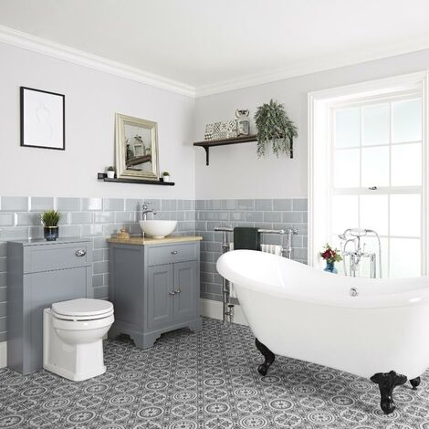 Milano Thornton - Traditional Bathroom Suite with Freestanding Double Ended Slipper Bath and Feet  645mm Vanity Unit with Countertop Basin and Back to Wall Toilet WC Unit