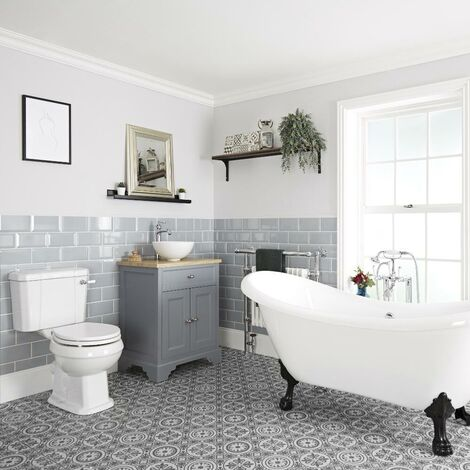 Milano Thornton - Traditional Bathroom Suite with Freestanding Double Ended Slipper Bath and Feet  645mm Vanity Unit with Countertop Basin and Close Coupled Toilet WC