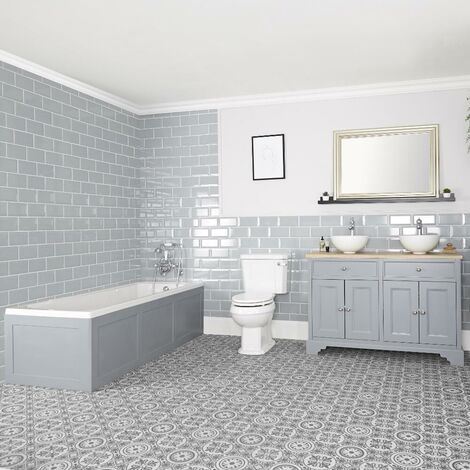 Milano Thornton - Traditional Bathroom Suite with Single Ended Bath  1210mm Vanity Unit with Countertop Basin and Close Coupled Toilet WC