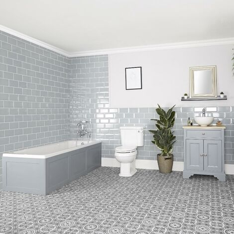 Milano Thornton - Traditional Bathroom Suite with Single Ended Bath  645mm Vanity Unit with Countertop Basin and Close Coupled Toilet WC