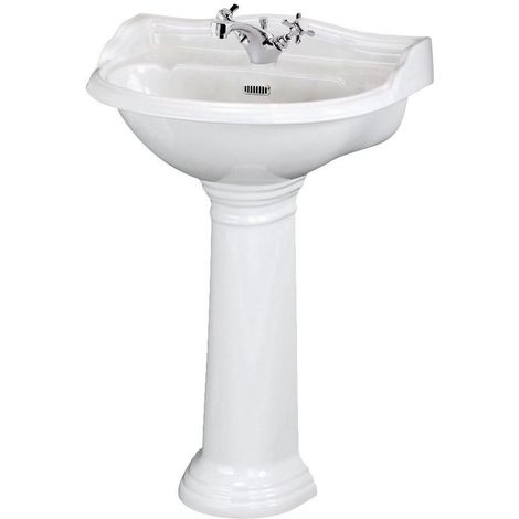 Milano Towneley - Traditional White Ceramic Bathroom Basin Sink with Full Pedestal and One Tap Hole - 600mm x 495mm