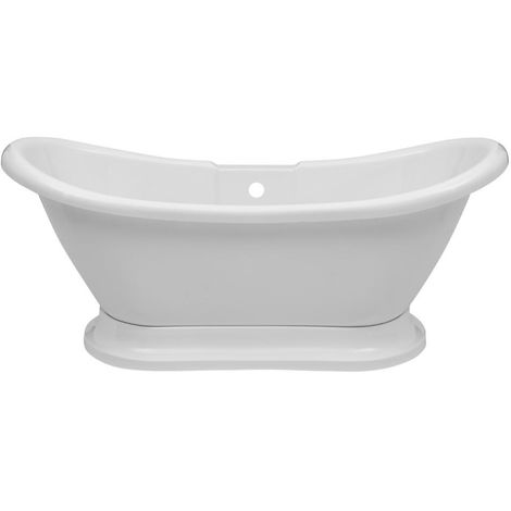 Milano Towneley - White Traditional Bathroom Double Ended Freestanding Slipper Bath - 1750mm x 730mm