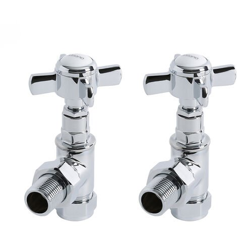 Milano – Traditional Chrome Angled Heated Towel Rail Radiator Valves – Pair