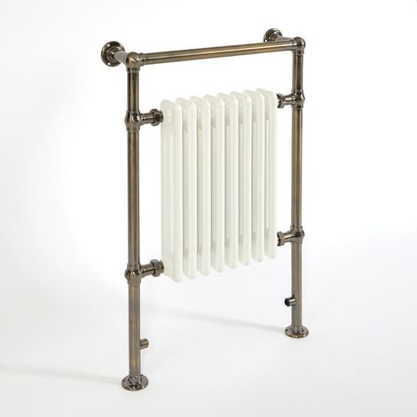 Milano Trent - Traditional Brushed Gold and White Heated Towel Rail Radiator - 930mm x 620mm