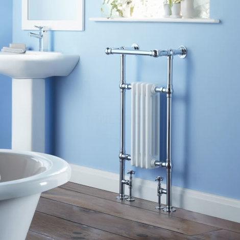 Milano Trent Traditional Victorian Heated Towel Rail - Brass & Steel Column Bathroom Radiator Cast Iron Style White & Chrome - 930mm x 450mm