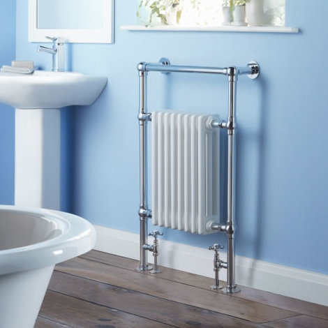 Milano Trent Traditional Victorian Heated Towel Rail - Brass & Steel Column Bathroom Radiator Cast Iron Style White & Chrome - 930mm x 620mm