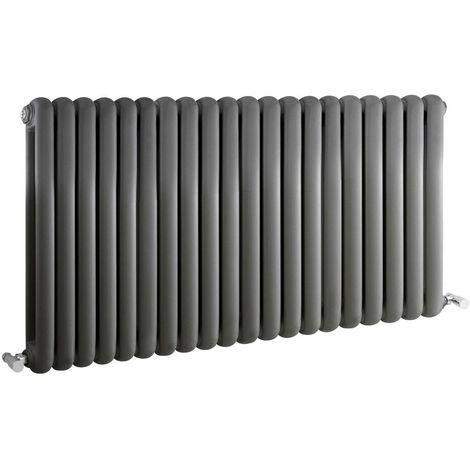 Milano Urban - Modern Anthracite Horizontal Double Panel Column Radiator - 635mm x 1223mm