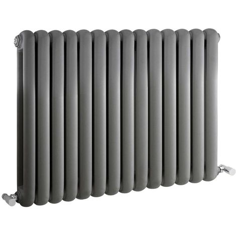Milano Urban - Modern Anthracite Horizontal Double Panel Column Radiator - 635mm x 863mm
