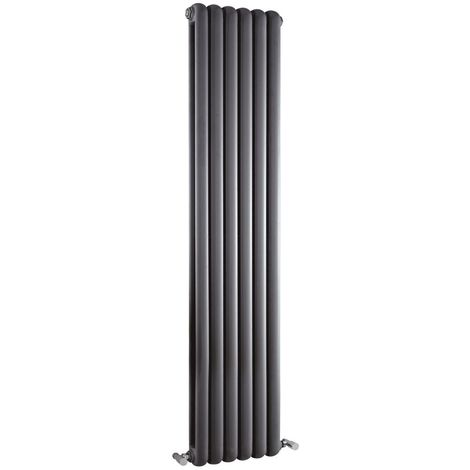 Milano Urban - Modern Anthracite Vertical Double Panel Column Radiator - 1500mm x 383mm