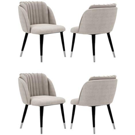 Milano Velvet Chair | Gold Tips | Living Room | Office Chair | Dining Chair | Velvet Chair | SET OF 4 | GREY