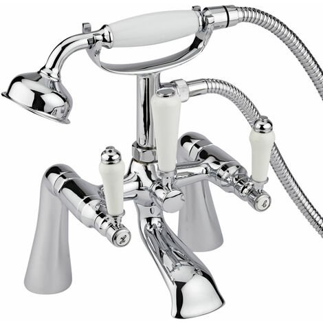 """main image of """"Milano Victoria - Traditional Deck or Wall Mounted Bath Shower Mixer Tap with Hand Shower Handset – Chrome"""""""