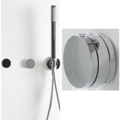 Milano Vis - Modern 2 Outlet Digital Thermostatic Mixer Shower Control with Hand Shower Handset Kit, Overflow Bath Filler Tap and Pop Up Click Clack Waste - Chrome