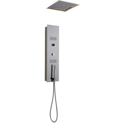 Milano Vis - Modern Concealed Digital Shower Tower Panel with 280mm Square Ceiling Mounted Recessed Rainfall Shower Head, Hand Shower Handset and Body Jets - Chrome