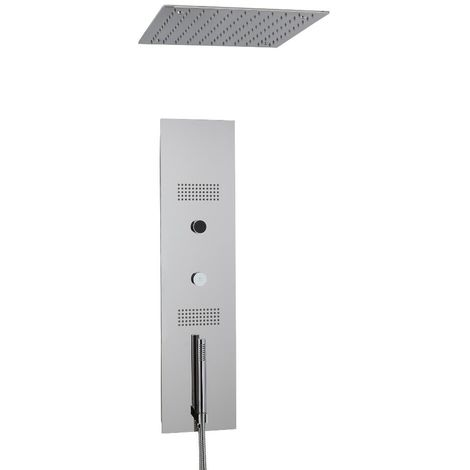 Milano Vis - Modern Concealed Digital Shower Tower Panel with 400mm Square Ceiling Mounted Recessed Rainfall Shower Head, Hand Shower Handset and Body Jets - Chrome