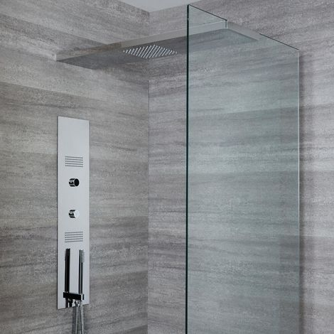 Milano Vis - Modern Concealed Digital Shower Tower Panel with 800mm Glass Grabbing Rainfall Shower Head, Hand Shower Handset and Body Jets - Chrome
