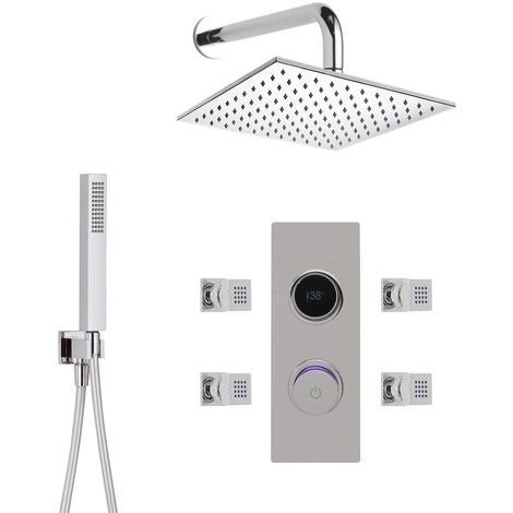 Milano Vis - Modern Digital Thermostatic Mixer Shower Valve with 300mm Wall Mounted Square Fixed Rainfall Shower Head, Hand Shower Handset and Body Jets - Chrome