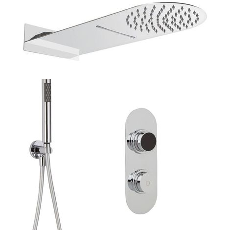 Milano Vis - Modern Digital Three Outlet Thermostatic Shower with 200mm x 500mm Rainfall Shower Head with Waterblade Function and Hand Shower Handset - Chrome