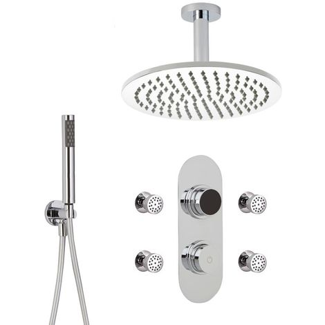 Milano Vis - Modern Digital Three Outlet Thermostatic Shower with 300mm Ceiling Mounted Round Rainfall Shower Head, Hand Shower Handset and Body Jets - Chrome