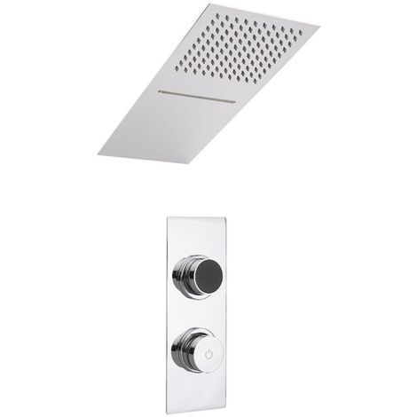 Milano Vis - Modern Digital Two Outlet Thermostatic Shower with 200mm x 500mm Wall Mounted Rainfall Shower Head with Waterblade Function - Chrome