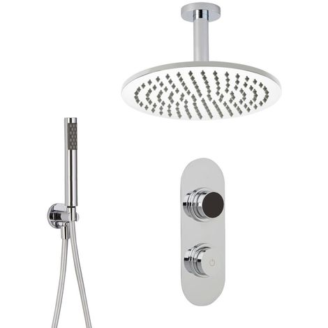Milano Vis - Modern Digital Two Outlet Thermostatic Shower with 300mm Round Ceiling Mounted Rainfall Shower Head and Hand Shower Handset Kit - Chrome