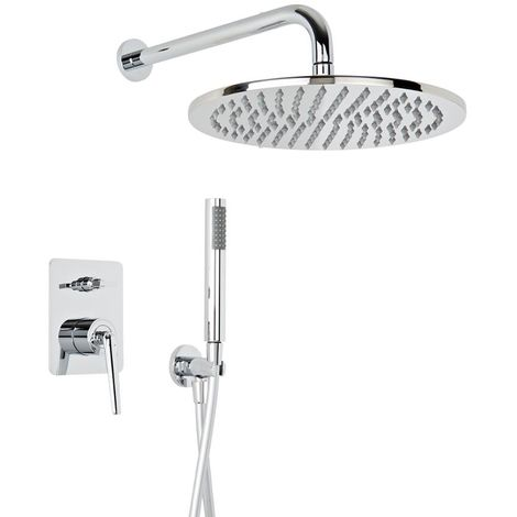 Milano Vora - Modern Concealed Manual Diverter Mixer Shower Valve with 300mm Wall Mounted Round Rainfall Shower Head and Hand Shower Handset - Chrome