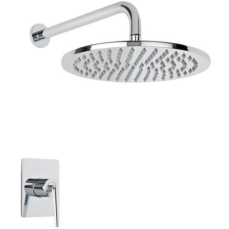 Milano Vora - Modern Concealed Manual Mixer Shower Valve with 300mm Round Rainfall Shower Head and Wall Mounted Arm - Chrome