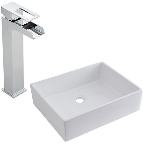 Milano Westby - Modern White Ceramic 490mm x 390mm Rectangular Countertop Bathroom Basin Sink and High Rise Waterfall Mono Basin Mixer Tap